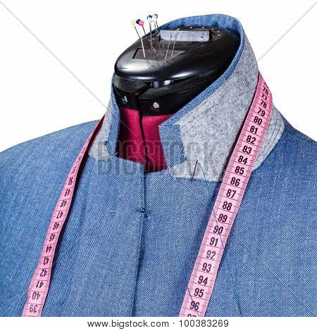 Tailoring Of Man Blue Jacket On Dummy Isolated