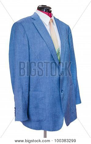 Blue Silk Jacket With Shirt And Tie Isolated