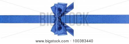 Symmetric Blue Bow With Horizontal Cuts On Ribbon