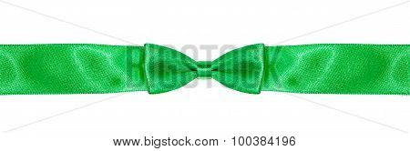 Symmetrical Bow-knot On Narrow Green Silk Ribbon
