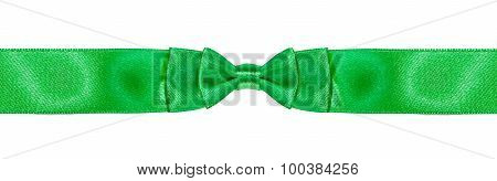 Symmetrical Double Bow-knot On Narrow Green Ribbon