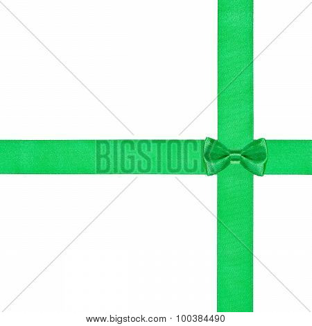 Little Green Bow Knot On Two Crossing Satin Ribbon