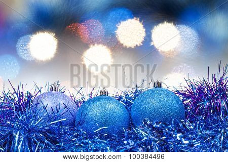 Xmas Blue Balls On Blurred Blue Background