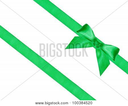 Big Green Bow Knot On Two Diagonal Silk Ribbons