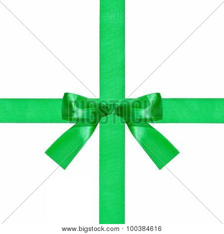 Big Green Bow Knot On Two Crossing Silk Ribbons