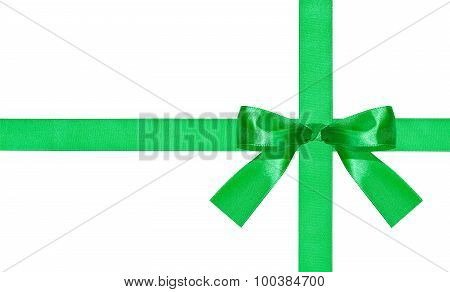 One Big Green Bow-knot On Two Satin Ribbons