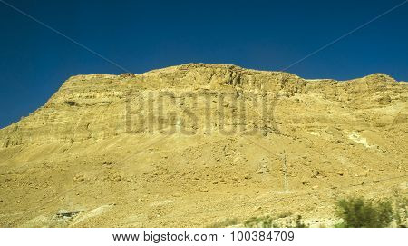 Yellow Stones And Mountains In Judean Desert