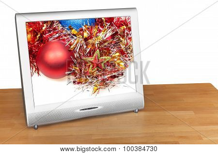 Christmas Still Life With Red Ball On Screen Of Tv