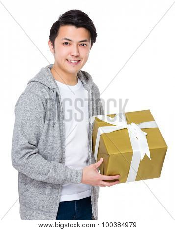 Man hold with present box