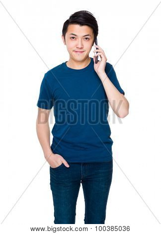 Asian man talk to cellphone