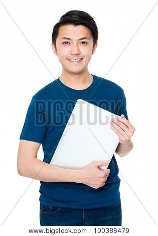Man hold with laptop computer