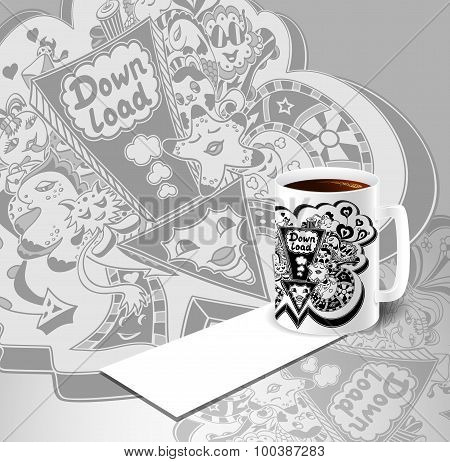 Cup Of Coffe Concept with cup of coffee and down load doodle monsters in white black