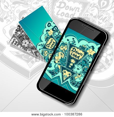 Concept with mobile telephone and down load doodle monsters