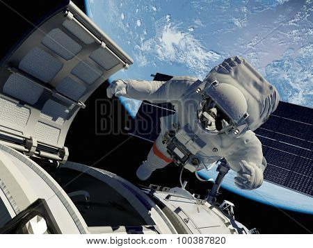 Astronaut goes through the hatch into space.