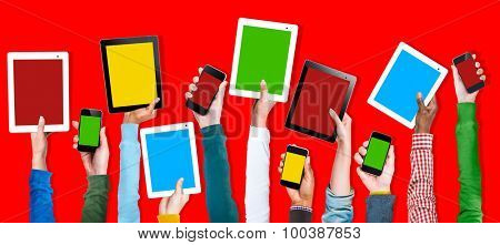 Multi Ethnic Arm Raised Unity Togetherness Digital Device Concept