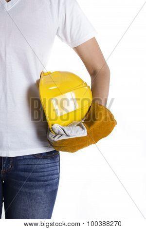 Female Engineer Hand Holding Yellow Helmet On White Background