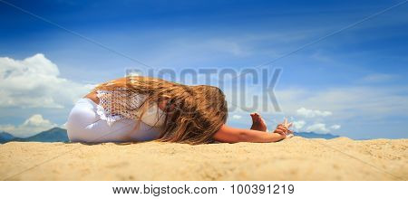 Girl In Lace Sits In Yoga Asana Head-to-knee Forward Bend
