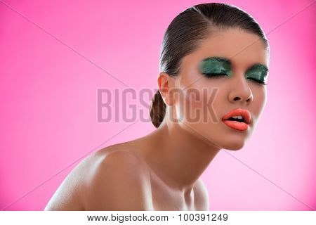 Beauty portrait of a girl with bright make-up