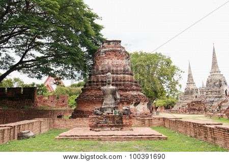 Buddha Statue And Stupa At Wat Phra Si Sanphet, Archaeological Sites And Artifacts.