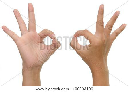 woman hand showing ok sign on whitebackground isolated