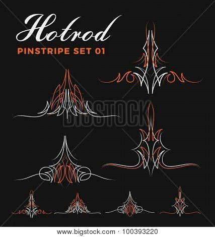 Set Of Vintage Pin Striping Line Art