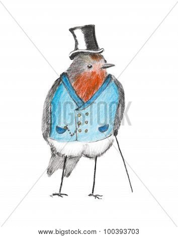 Robin Red Breast Dressed Up As A Victorian Gentleman.
