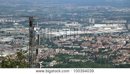 Telecommunications Antenna Over The Immense Metropolis
