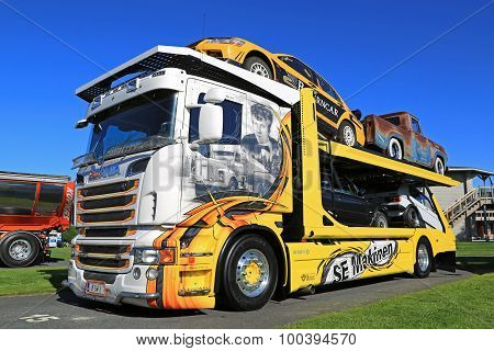 Customized Scania R620 V8 Car Carrier In A Show