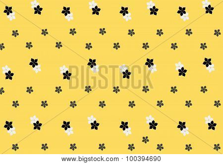 Seamless pattern with flowers. Muctard background