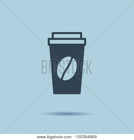 Disposable coffee cup icon with coffee beans logo, Vector illustration flat design