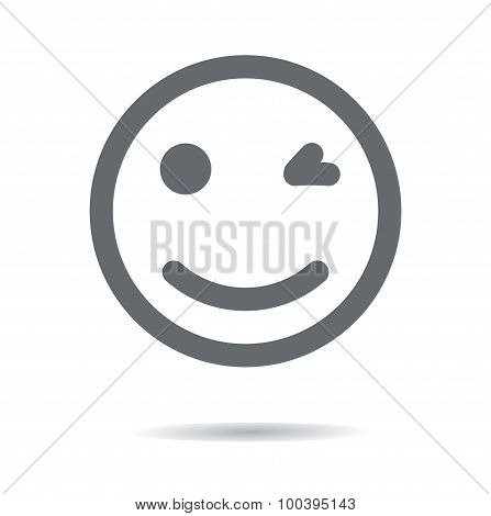 Smile line Icon with shadows. Vector  illustration