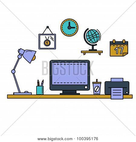 Line flat vector illustration workspace with desktop computer, work place, equipment in office inter