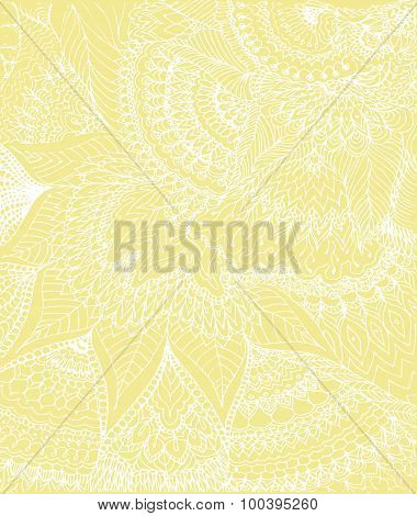 Vector Illustration Of Doodle Drawing On The Light Yellow Background. Abstract White Lines, Curves