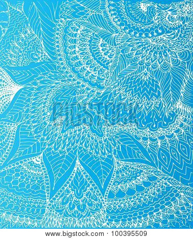 Vector Illustration Of Doodle Drawing On The Light Blue Background. Abstract White Lines, Curves