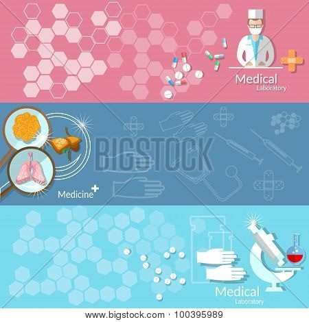 Set of Three Medical Vector Banners