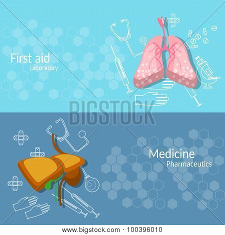Set of Two Medical Vector Banners