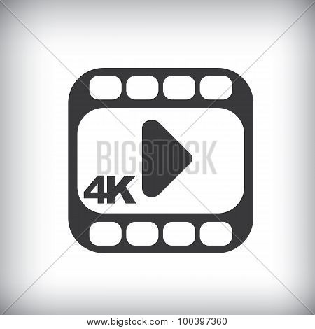 4k ultra hd video icon isolated on background.