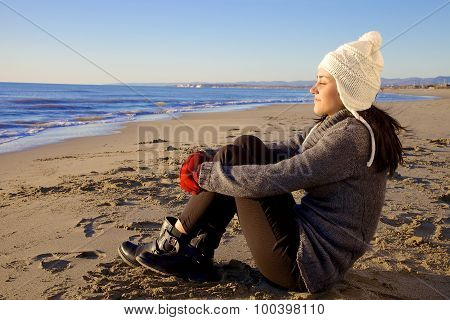 Beautiful Lady On The Beach In Winter Enjoying Freedom