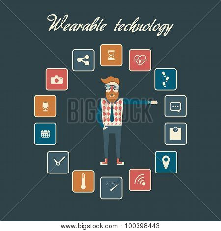 Smart watches and smart glasses icons with hipster figure