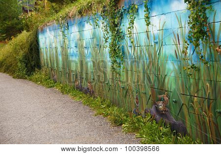view on a lake side with wild nature scenery wall painting