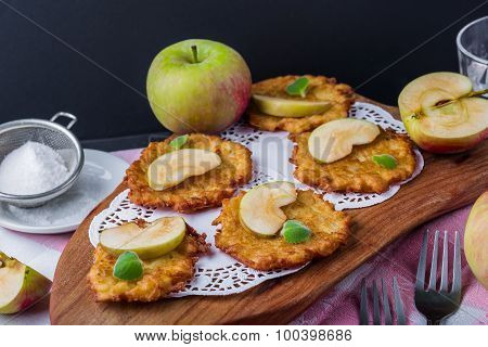 Pancakes With Apples And Fresh Mint