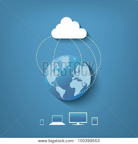 Cloud computing technology with devices all over the globe.