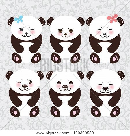 Kawaii funny panda white muzzle with pink cheeks and big black eyes. Vector