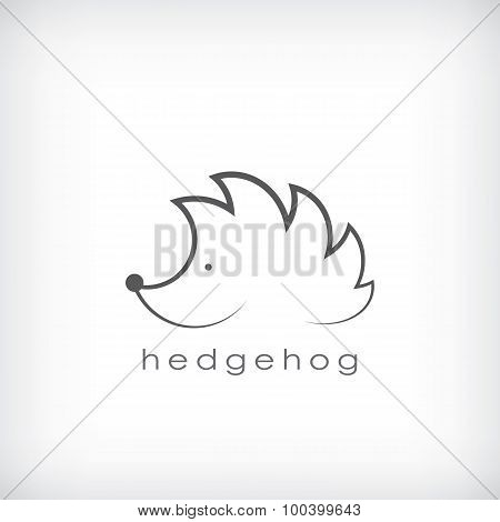 Cute little hedgehog symbol in simple outlines suitable for corporate identity