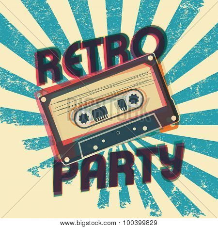 Retro party music poster design with vintage style and equipment.