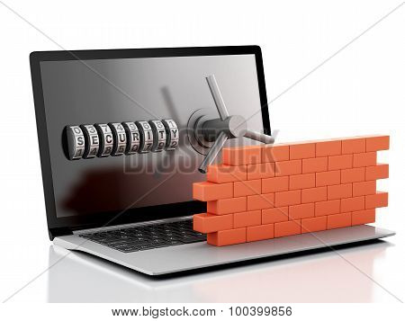 3D Laptop With Combination Lock And Brick Wall. Firewall Concept.