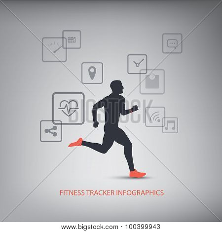 Fitness tracker icons for monitoring health with man running silhouette.