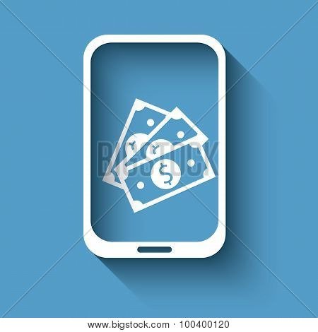 Mobile payment with smartphone sign in flat design. Advertisement for modern nfc technology