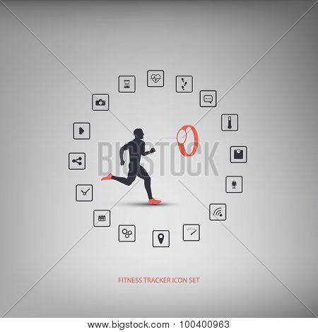 Fitness tracker or smart watch wearable technology infographics with set of icons for fitness tracke