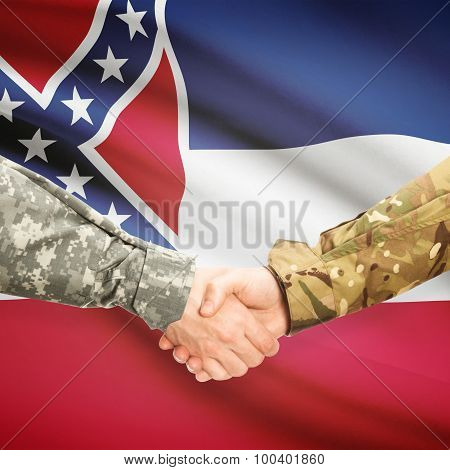 Military Handshake And Us State Flag - Mississippi